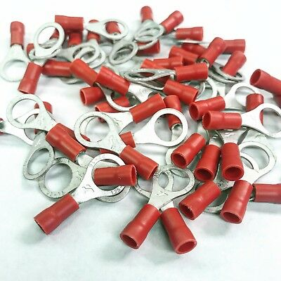 """(100)Red VINYL 22-16 5/16"""" AWG Ga Wire Ring Terminal Crimp Connector C"""