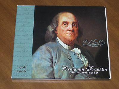 2006 Ben Franklin Coin & Chronicles Set, w/ UNC Silver Dollar, Stamps,, Almanac