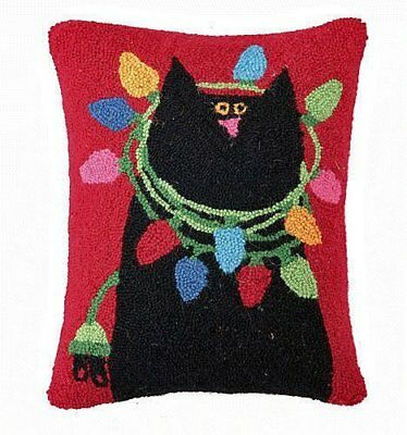 "Black Cat Christmas Lights Wool Hooked Throw Pillows, 14"" X 18"", Linnea Riley"