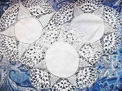 3-PIECE HAND-MADE ROUND COTTON DOILIES W/SCALLOPED CROCHET BORDERS (Vintage)