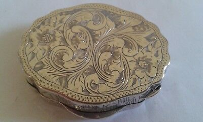 Continental White Metal, Engraved, Hinge Lidded Pill Box.