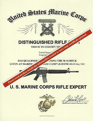 U.S. Marine Corps Expert Rifle Replacement Certificate