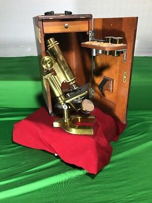 Vintage Bausch & Lamb Microscope With Case Brass Very Attractive NO 17225