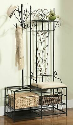 Black Metal Hall Tree Cushion Bench Coat Rack Storage Basket Umbrella Stand Hook