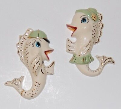 Vintage Ceramic Gold Fish Wall Hanging Plaques
