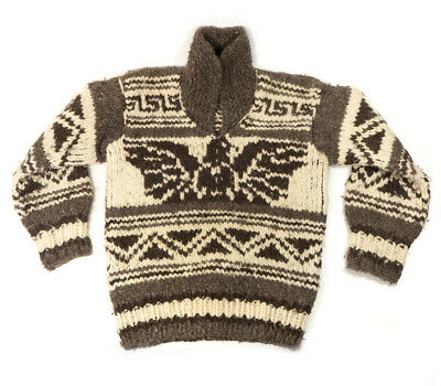 Vintage Men's Wool Hand Knitted Cowichan Sweater Size S/M