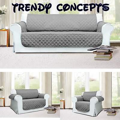 Quilted Sofa Protector Throw  Protector Cover  Dark Grey Seat Cover Comfortable