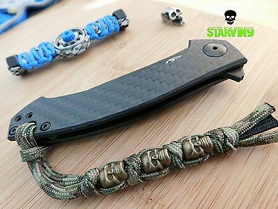 Paracord knife lanyard-3 skulls/camo,fits spyderco,zero tolerance,benchmade