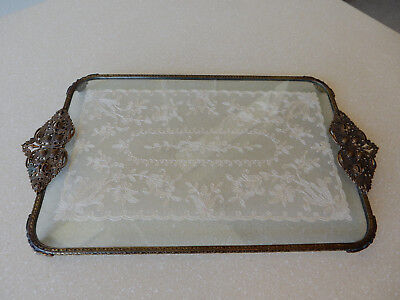 Vintage Lace in Glass Vanity/Perfume Tray