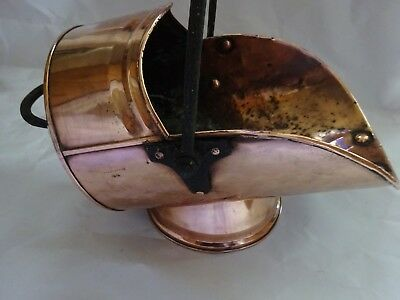 Victorian Solid Copper Scuttle Coal Hod Bucket Fire tool With Cast Iron Handle
