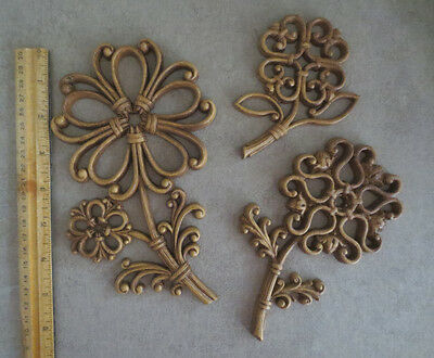 Set 3 Homco Dart Flower Wall Plaques 1970s Floral Wicker Rattan Look 7560 A