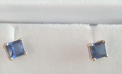 9ct Solid Gold Princess cur Sapphire studs earrings..No Reserve !!