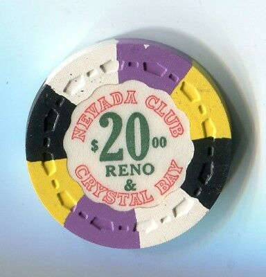 "$$$ 1959 NEVADA CLUB RENO TAHOE $20  ""  Colorful 1/8 Pie  "" SMALL CROWN CHIP"