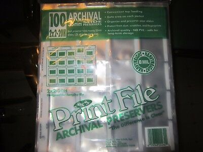 100 35mm Film Archival Slide Preservers Pages/sleeves clear