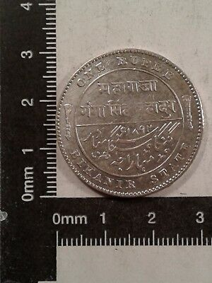 1892 1 Rupee Silver Coin Indian States And Kingdoms Low Mintage: 596,000 Km-72 *