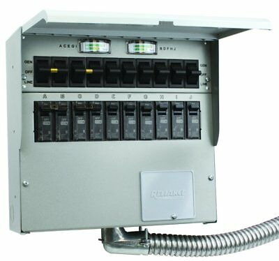 Reliance Controls 510C Generator Transfer Switch, 50 Amp, 10 Circuit