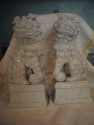 Pair White Chinese  Porcelain Foo/lion Dogs 9 1/2'' Tall