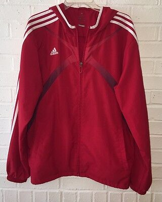 Men's Adidas Climacool Windbreaker Size Large Red Athletic Hooded Zip Up Jacket