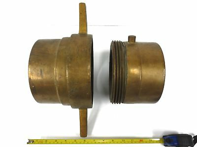 """Large Antique Brass 6"""" Fire Truck Fire Hose Adapter Connector Coupling, Threaded"""
