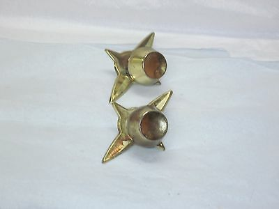Vintage 2 Lot Drawer Knob Pull BRASS Atomic Starburst Mid Century Modern