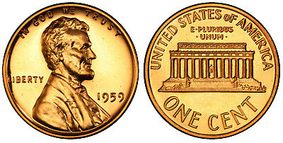 1959 Gem Proof Lincoln Memorial Copper Cent Penny