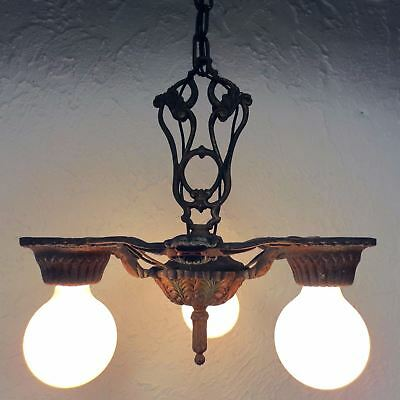 "Antique Art Deco Alwyn 3 Lights Slip Shade Chandelier 12"", Ceiling Fixture with"