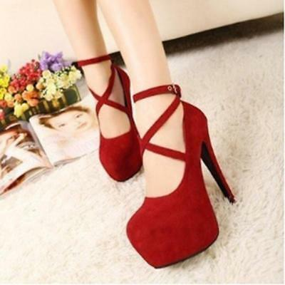 Fashion Womens Ankle Strap Platform Stiletto Wedding High Heels Pumps Shoes JJ