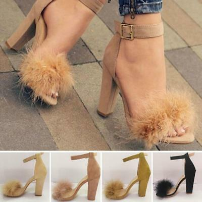 Women Lady Feather Fur High Heel Sandals Ankle Strap Cuff Party Court Shoes JJ