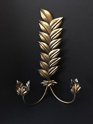Italian Gilt Metal,  2 Candle Tole Wall Sconce Wall Sculpture