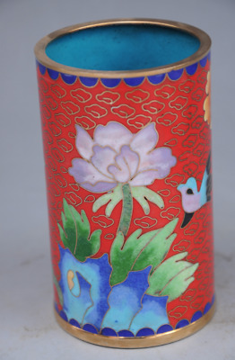 Perfect Chinese Old Cloisonne Flowers Pen Container