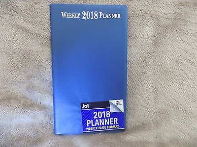 2018 Solid Blue Weekly Pocket Planner Calendar - Free Shipping!