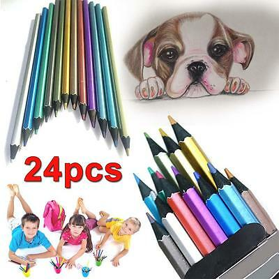 2 lot Metallic Non-toxic Colored Drawing Pencils 12 Colors Drawing Sketching ❀Q
