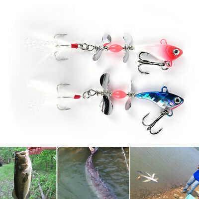 2Pcs Metal Spinner Spoon Fish Lure 13g Feather Bait Striped bass Killer bait &