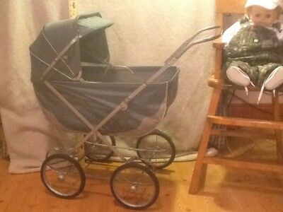Vintage Welsh? Colapsible Doll Carriage Boodle Buggy Canvas Hood Visor 1960's???