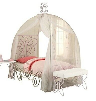 ACME Furniture Priya II Collection Twin Bed Mesh Canopy - Butterfly White Purple