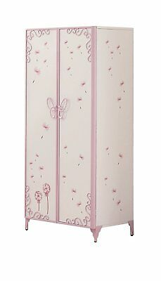 ACME Furniture Priya II Collection Armoire Storage Wardrobe Butterfly WHT Purple
