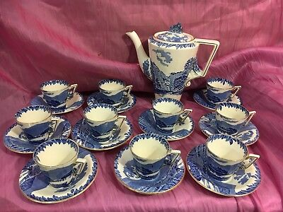 Burleigh Ware Blue And White 22 Piece Tea/Coffee Setting