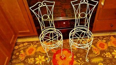 Unique Pair Of  Vintage Wrought Iron Chair Style Planters Jadeite Green 28 In