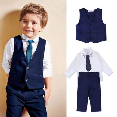 4pcs Kids Baby Boys Waistcoat+Tie+Shirt+Pants Outfits Gentleman Suit Set Formal