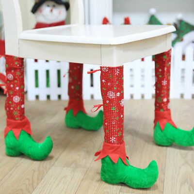 Fashion Christmas Restaurants Santa Chair Leg Cover Chair Sets Party Decorations