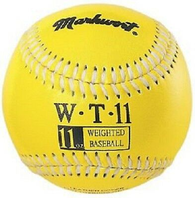 Heavy Weight 11 Oz Yellow Leather Baseball Pitcher's Training Ball By Markwort