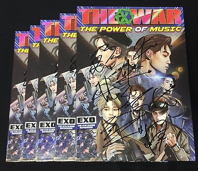"""EXO autographed """"The War: The Power of Music"""" 4th Repackage signed PROMO CD"""