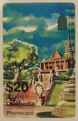 Rare Telstra International $20 Cambodia Temple phonecard prefix 1565 mint