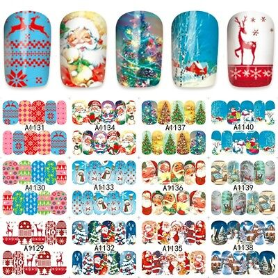Nail Art Stickers Decals Santa Reindeer Christmas Tree Xmas (A1129-1140)