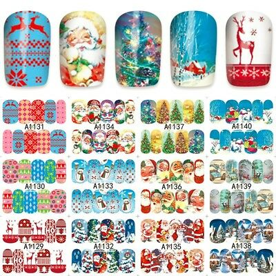 Nail Art Stickers Decals Transfers Santa Reindeer Christmas Xmas Collection