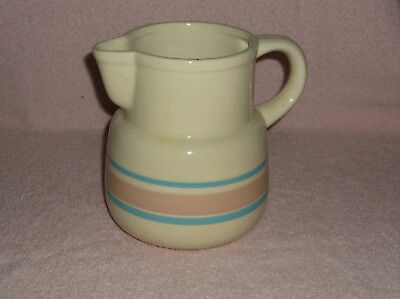 McCoy Ivory Off White with Pink and Blue Bands Water Milk Pitcher