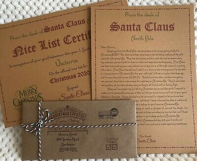 Personalised Vintage Letter From Santa Father Christmas & Nice List Certificate