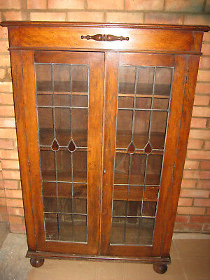 Victorian Display Cabinet - Oak with Leaded Glass Doors