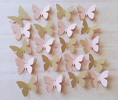 20 X Pink And Gold Party Table Decorations 3D Butterflies Baby Shower Wedding