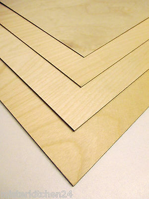 6 Pieces Fin. Aircraft plywood Beech wood 1mm 3-ply glued 50cm x 25cm
